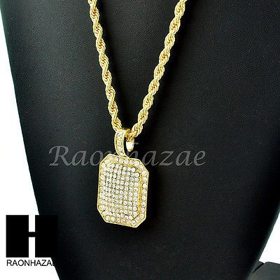 Hip hop gold plated iced out diamond shape pendant 24 rope chain hip hop gold plated iced out diamond shape pendant 24 rope chain necklace 248 mozeypictures Gallery