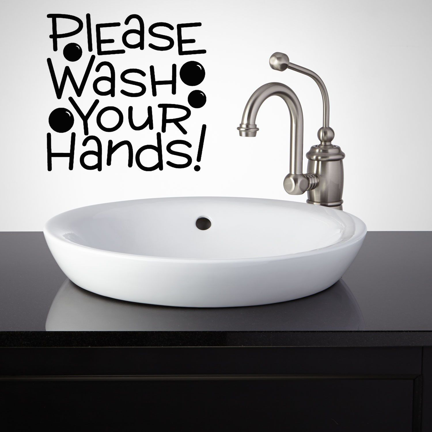 Please Wash Your Hands Bathroom Lettering Wall Decal Quote Bath