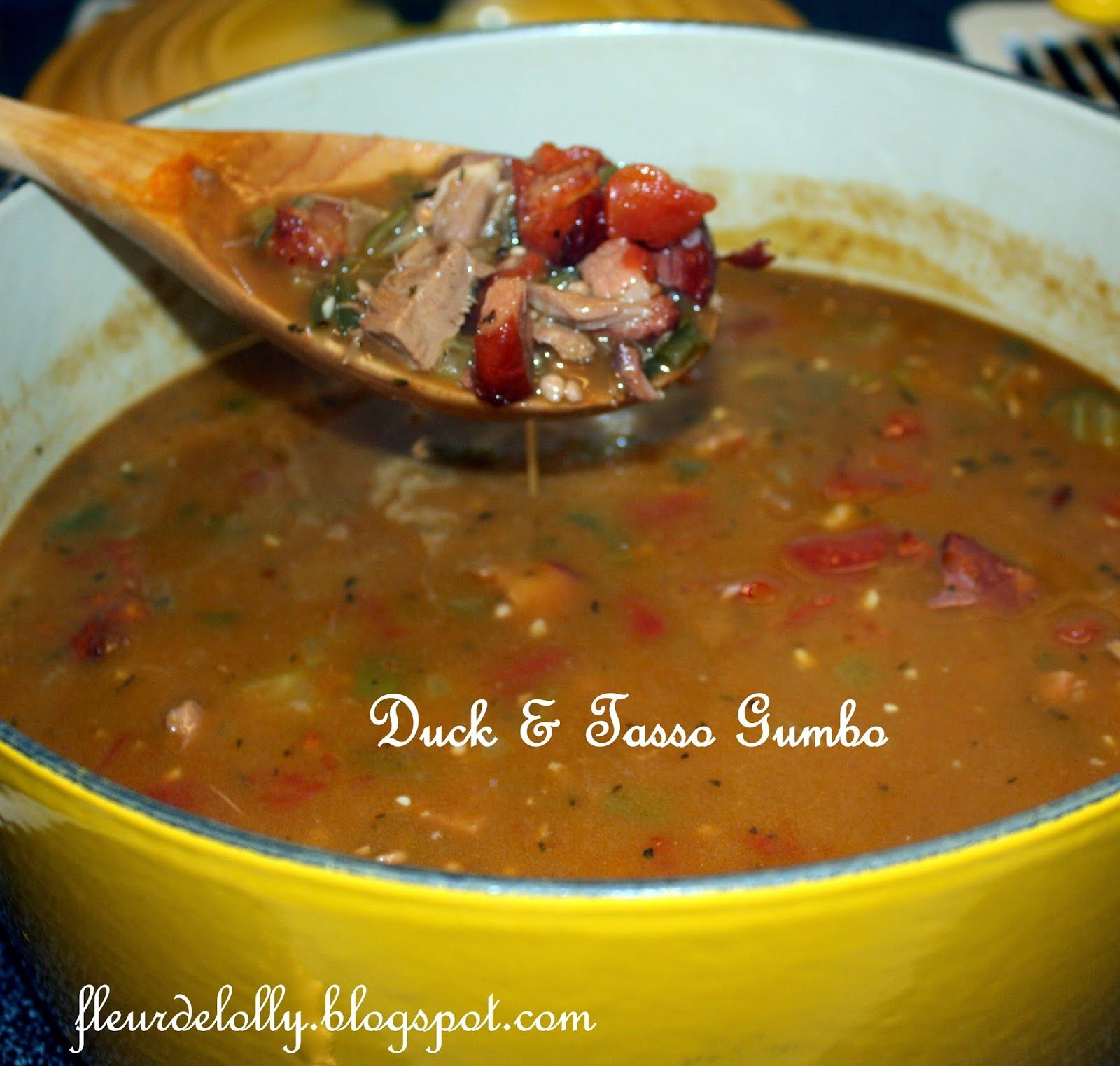 Photo of Fleur de Lolly: Duck and Tasso Gumbo.  A rich, hearty gumbo full of duck, tasso …