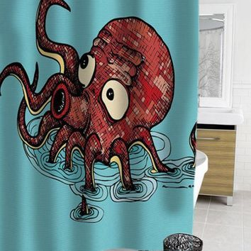 octopus cartoon shower curtain - myshowercurtains