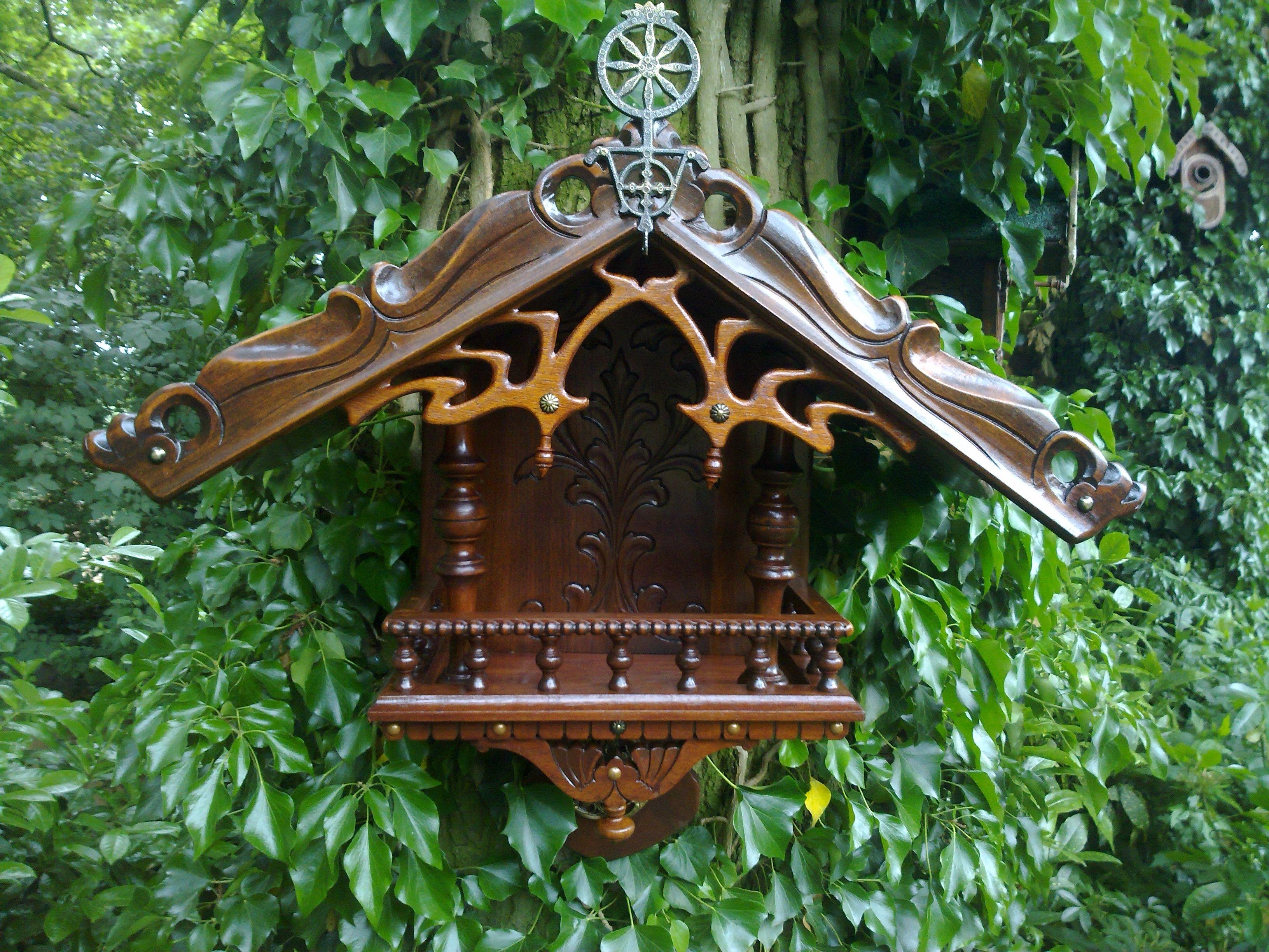 birdfeeder with antique items