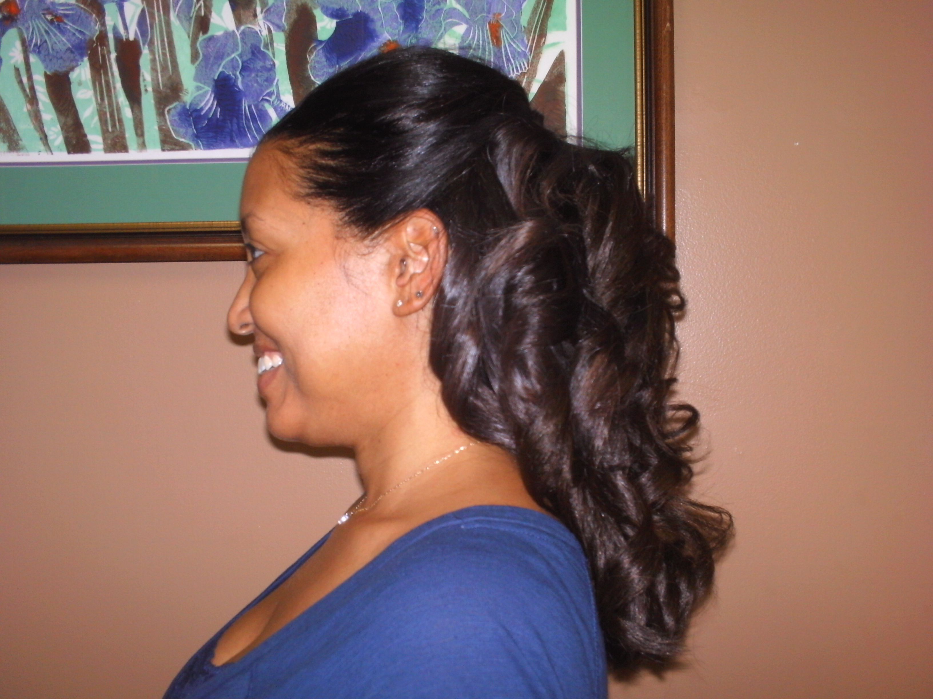 Braidless Sew In Weave In A Curled Updo Style