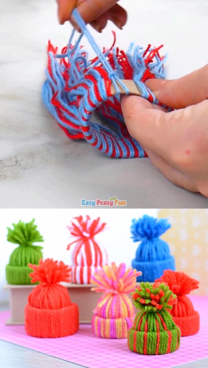 Mini Garn Hüte Ornamente - DIY Weihnachtsschmuck - Bastelideen Kinder