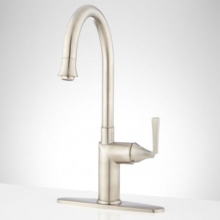 "Reeves Singlehole Kitchen Faucet With 8"" Deckplate  Brushed Brilliant Single Hole Kitchen Faucet Inspiration Design"