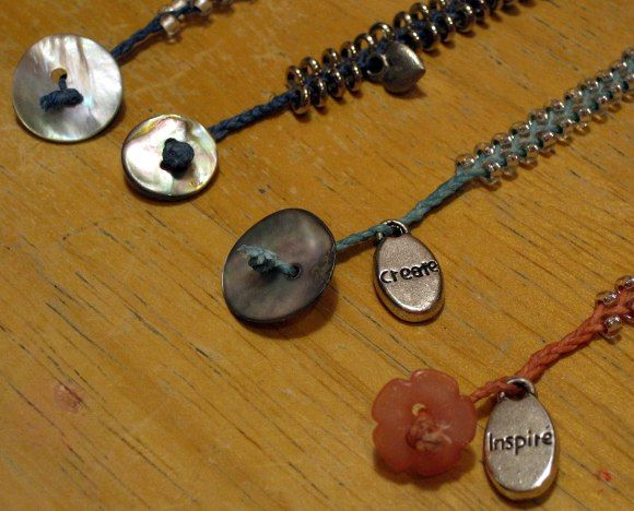 Buttons and Charms on Bracelets