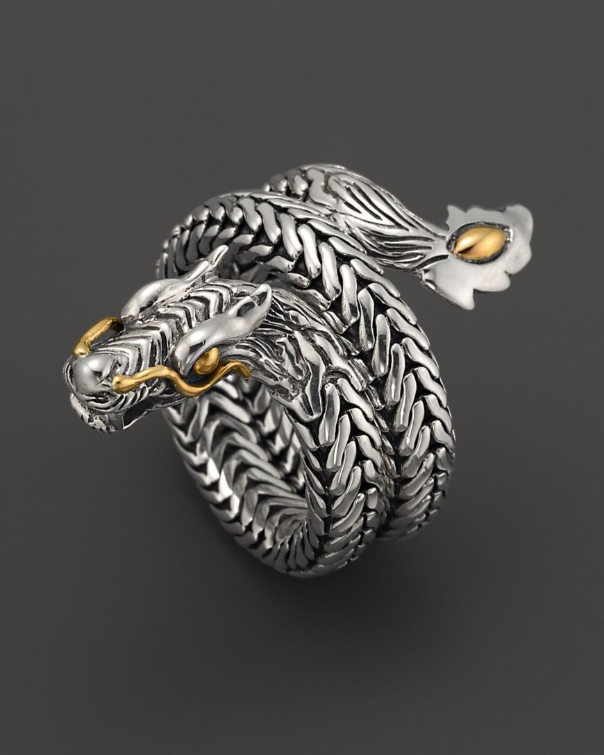 e154ab2d80472 John Hardy Naga 18K Gold and Sterling Silver Dragon Coil Ring ...