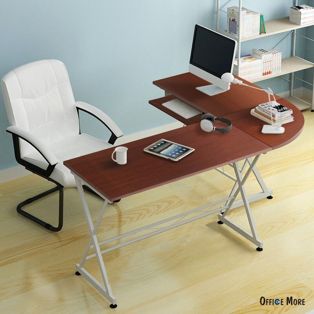 L shaped durable wooden splicing computer desk