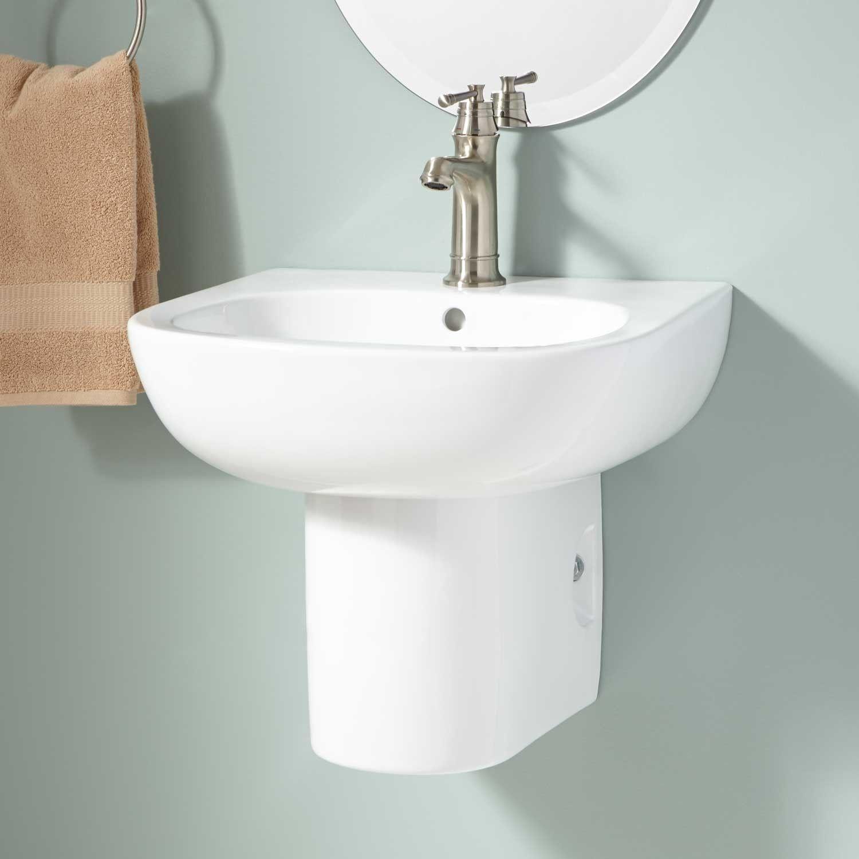 Charmant Langlade Wall Mount Semi Pedestal Sink