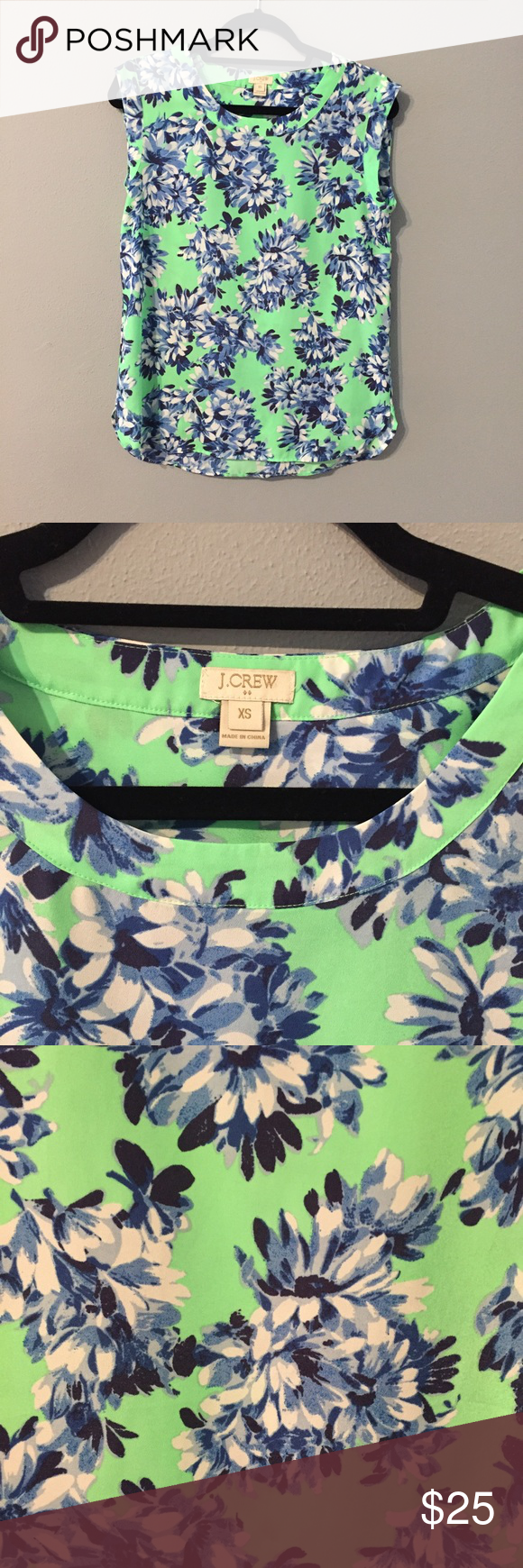 "J. Crew Bright Floral Shirt Fun and bright top that creates a flowy perfect spring time look. Length is 22.5"" measured from the collar to the bottom of the dress and ~19"" width measured below arms of top. Great, like new condition J. Crew Tops Blouses"