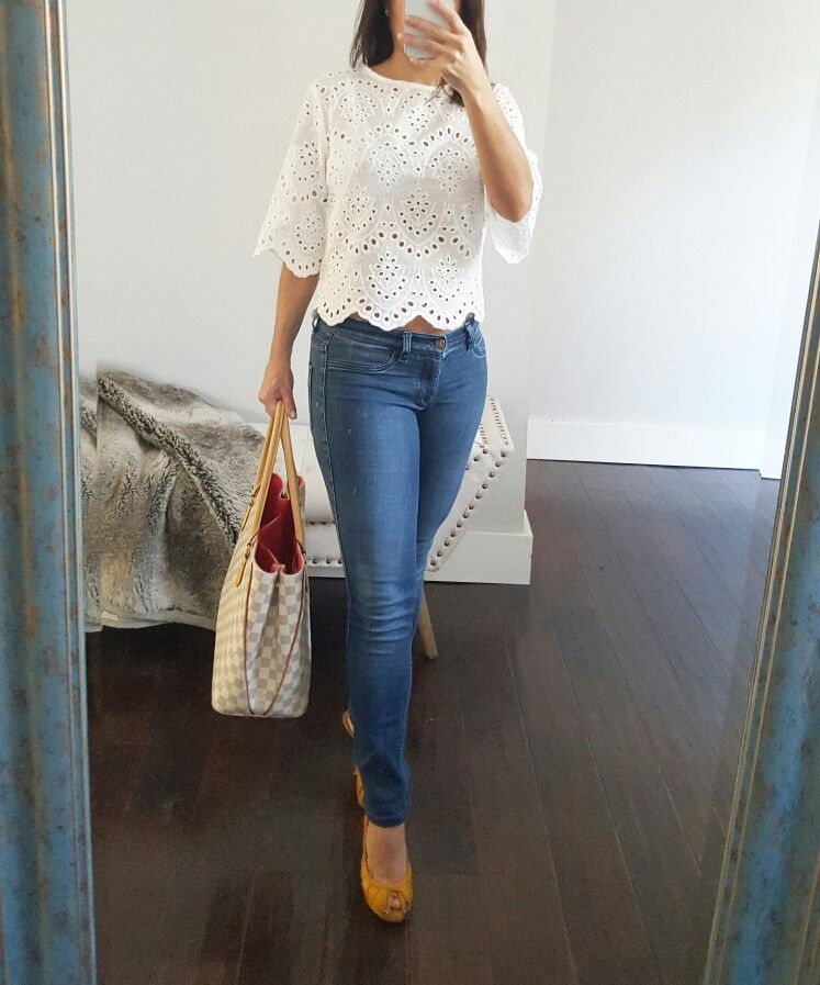 White Margaux eyelet crop top | Maidelin.com