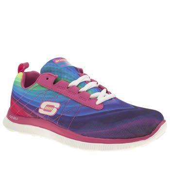 Skechers Womens White Purple Purple White Flex Appeal Please Trainers British Retro