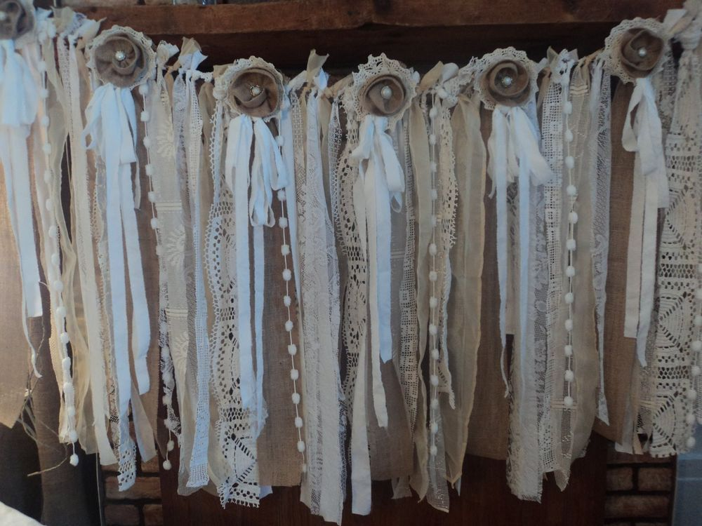 rustic wedding decor farmhouse wedding shabby chic wedding decor fabric garland vintage shabby chic decor rustic boho wedding table decor