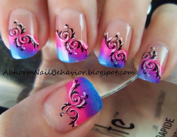 Bright-summer-neon-french-tips-and-stamped-nail-art   Unique nail ...