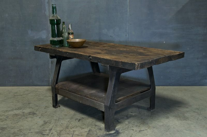 Industrial Boatyard Cast Iron Work Table : 20th Century Vintage Industrial Modern50 Style