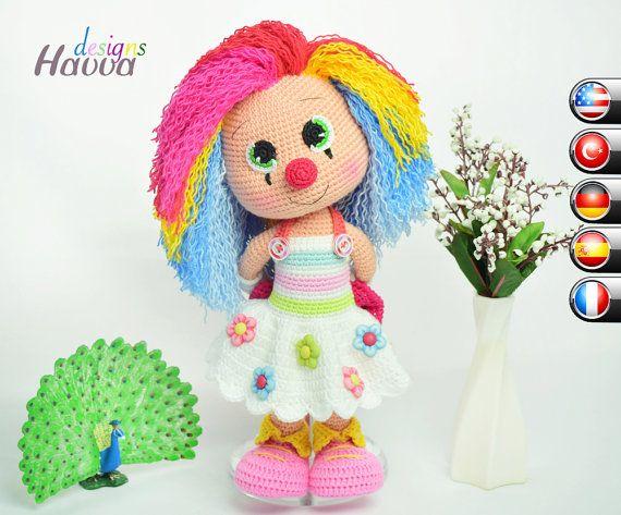 Downloadable Crochet Pattern - Miss Clown | Amigurumi | Pinterest ...