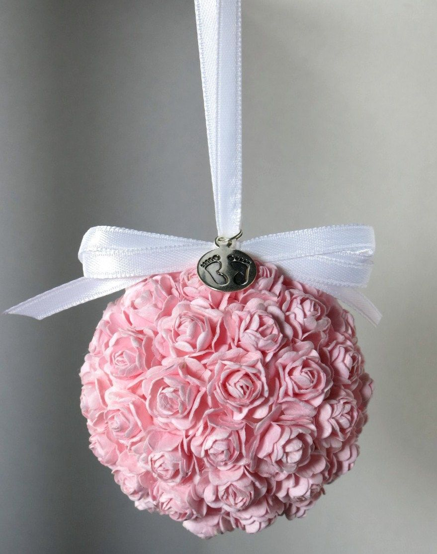Pink Rose Floral Ornament Christmas Ornament New Baby Girl ...