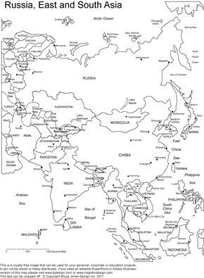 printable outline maps of Asia for kids | Asia Outline, Printable ...