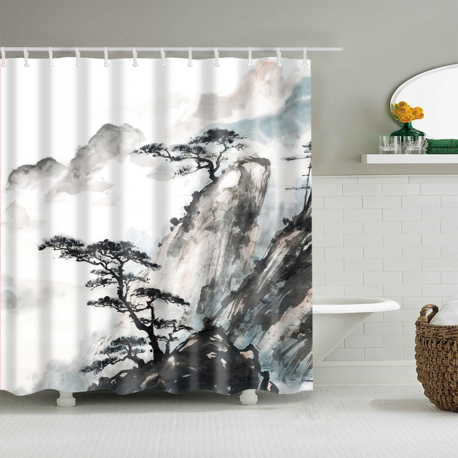 Chinese Landscape Painting Pine Tree Shower Curtain Bathroom Decor