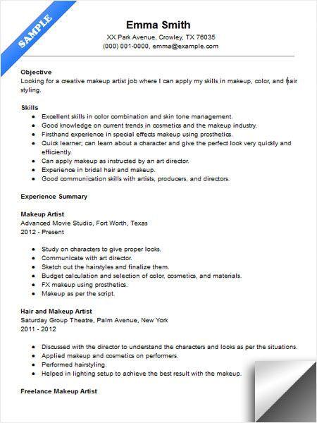 Makeup Artist Resume Sample Makeup Artist Resume Artist Resume Makeup Artist Jobs