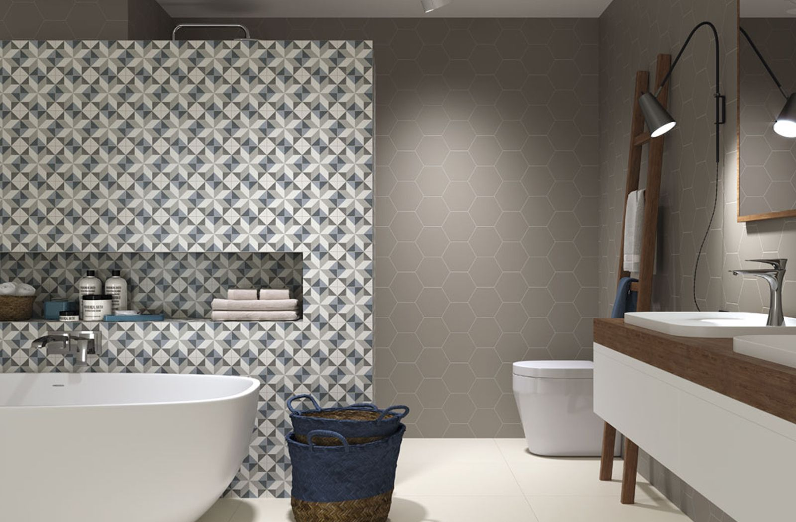 elegant patterned feature wall for bathroom - fiorella tile, Badezimmer ideen