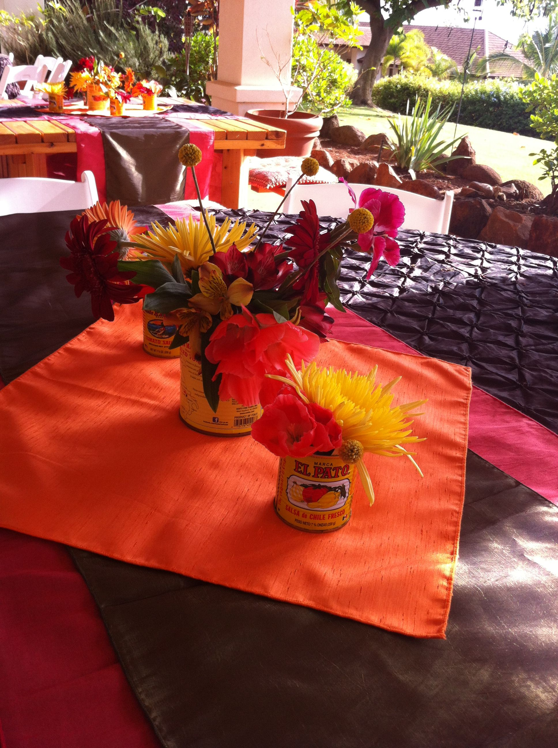 Fiesta inspired centerpiece; Sunya Flowers; Mana Events Hawaii
