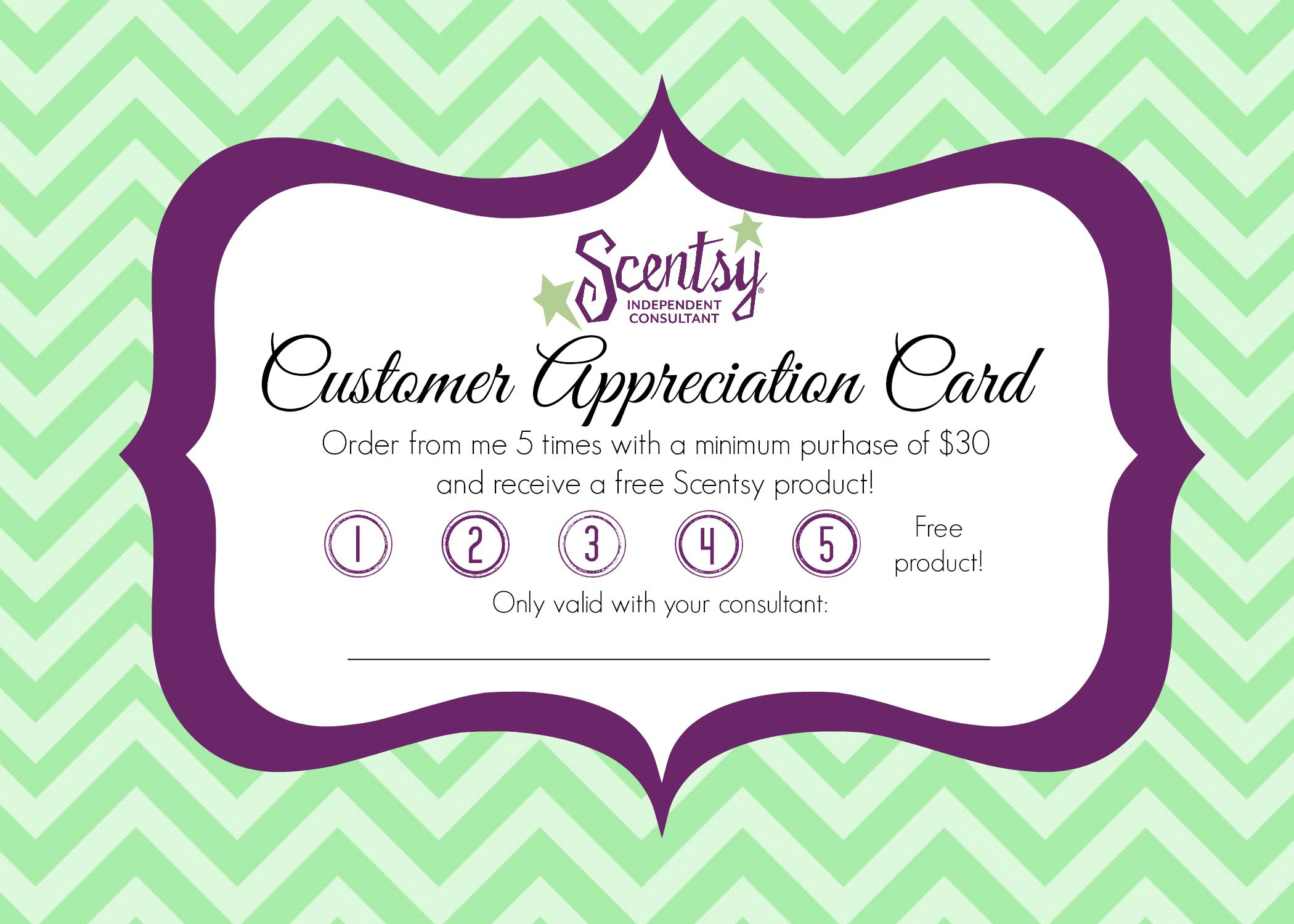 Customer Appreciation Card print on cardstock and fill