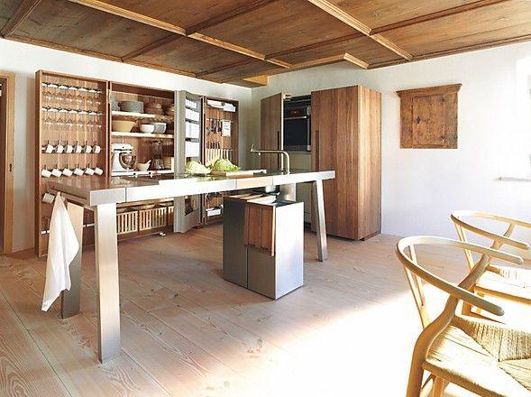 Offene Küchenwerkstatt b2 mit Werkbank aus Edelstahl (bulthaup - offene wohnkchen