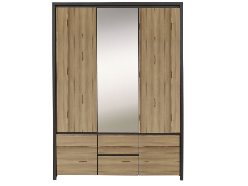 This streamlined Kaspian wardrobe in the oak wenge and palio colors reminds us a bit of midcentury style. It has a few compartments, drawers and a mirror in it