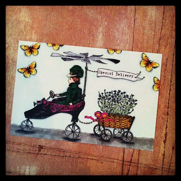 Postcard Project Card by Barbara Smith working with Character Constructions Timekeeper's Garden collection!