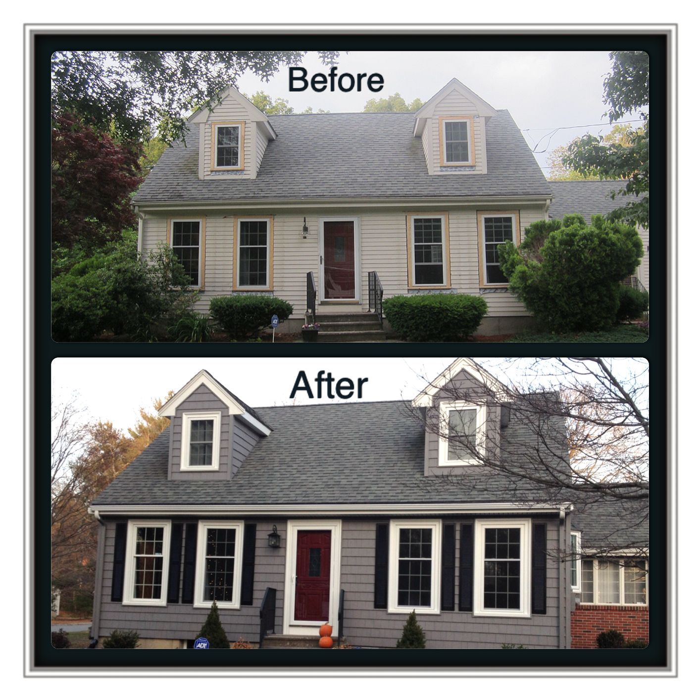 Before and after certainteed corporation siding and for Harvey siding colors