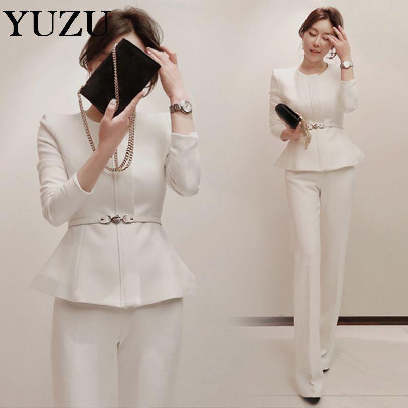White Pant Suit Set Women S