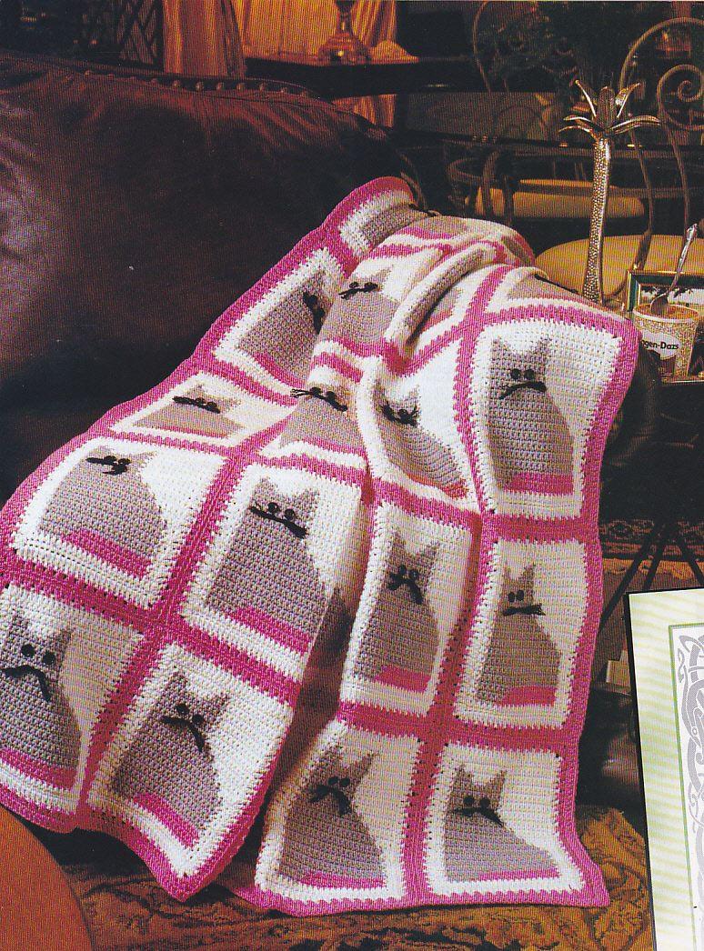 Crochet Pattern Kitty Cat Afghan Instructions $3.49 | eBay | Crochet ...