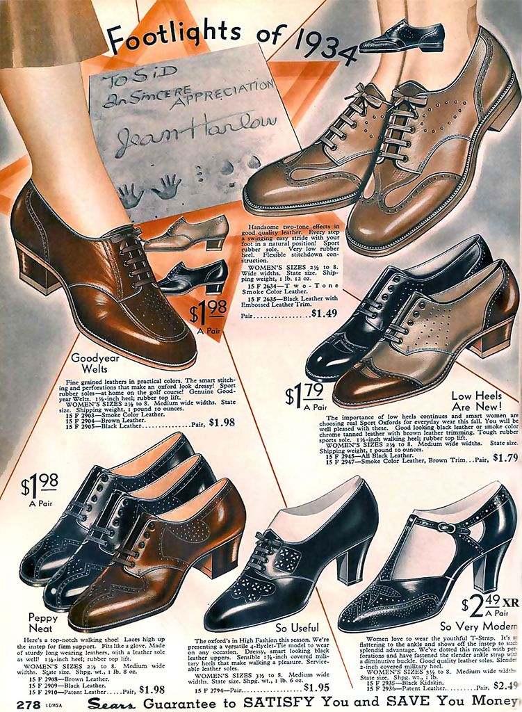 Catalog Page of Shoes 1934 - find retro and vintage style oxfords at http://www.royalvintageshoes.com/1930s-vintage-shoes
