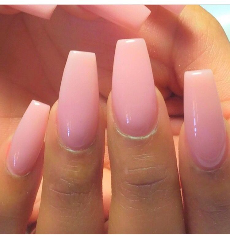 Love The Light Pink Gel And Coffin Shape Perfection Nails