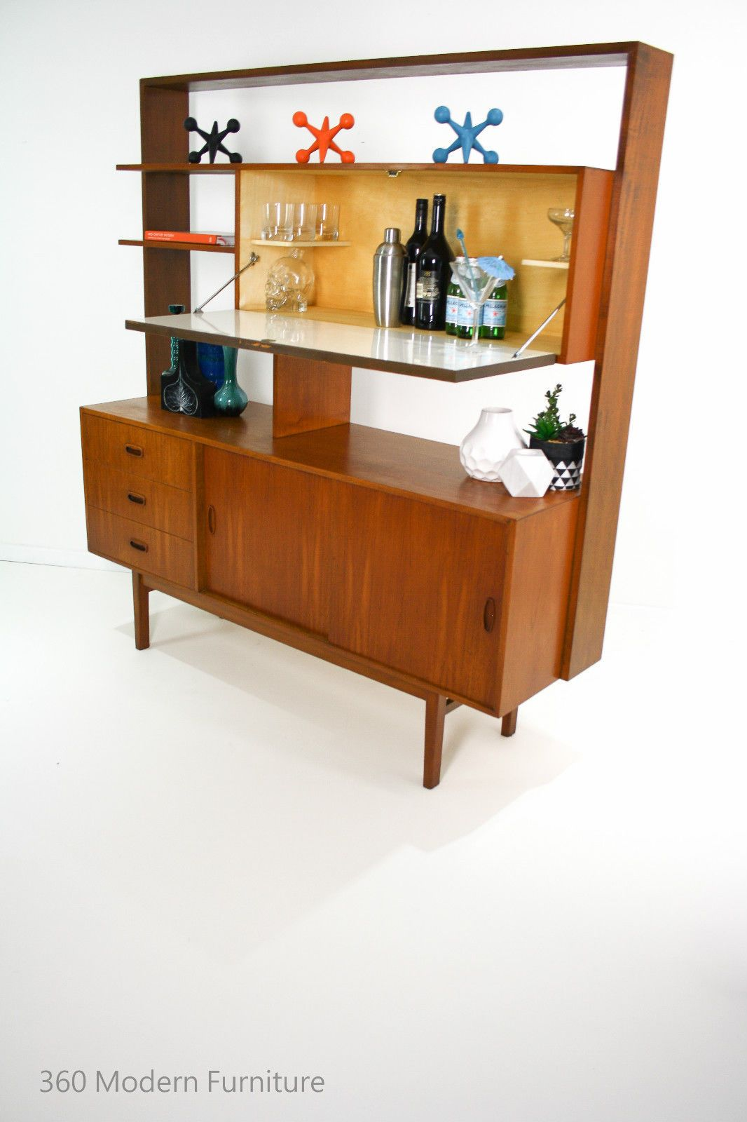 Mid Century Teak Sideboard Room Divider Bar Shelves Cabinet Vintage on