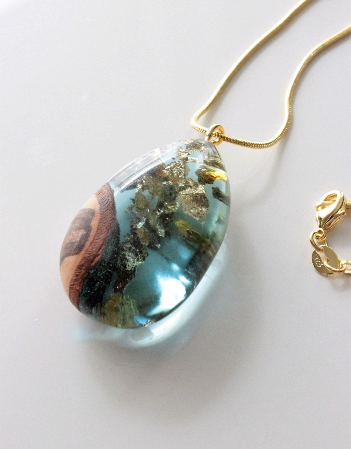 Gold necklace with wood-resin pendant - handmade pendant ...