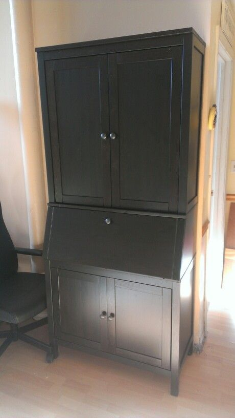 Ikea Hemnes Secretary Desk With Additional Hutch In Black Brown
