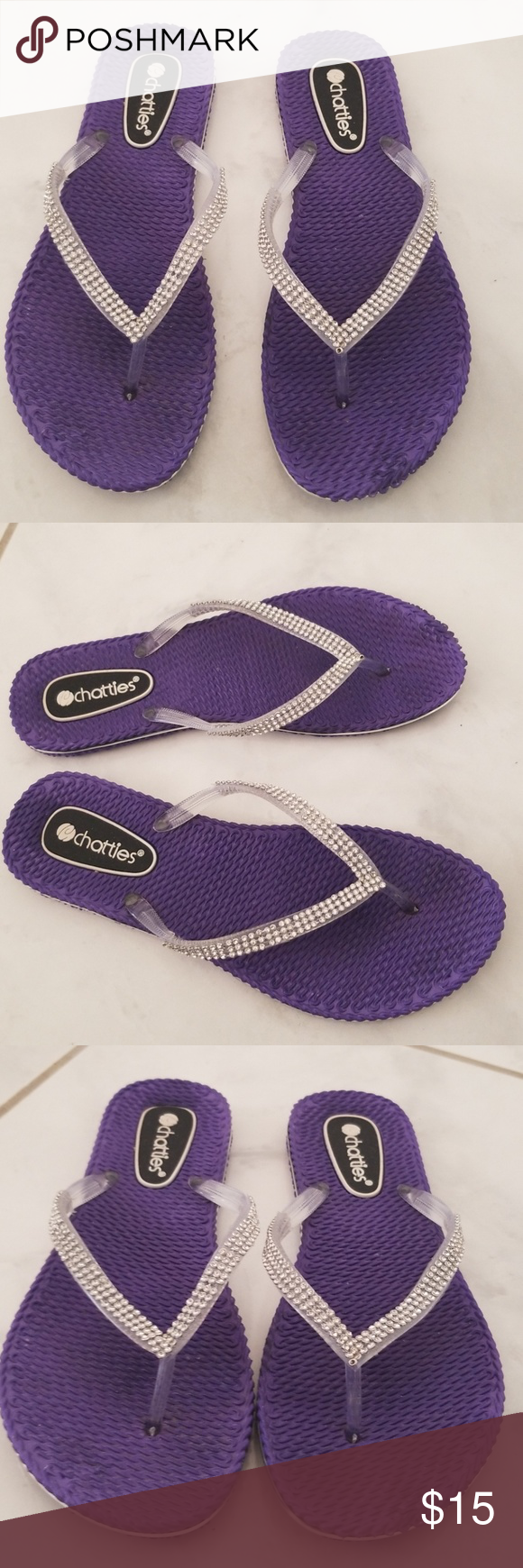 6a592e0a609243 Chatties Comfort Bling Flip Flops L 9 10 Adorable bling rhinestone flip  flops from Chatties in a size large 9 10. Measure 10.50