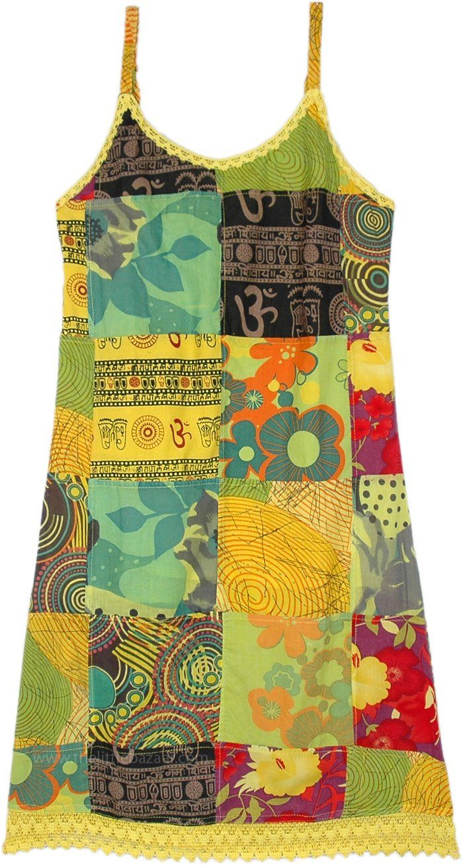 Ethnic Sun Patchwork Boho Hippie Dress-S/M in Cott