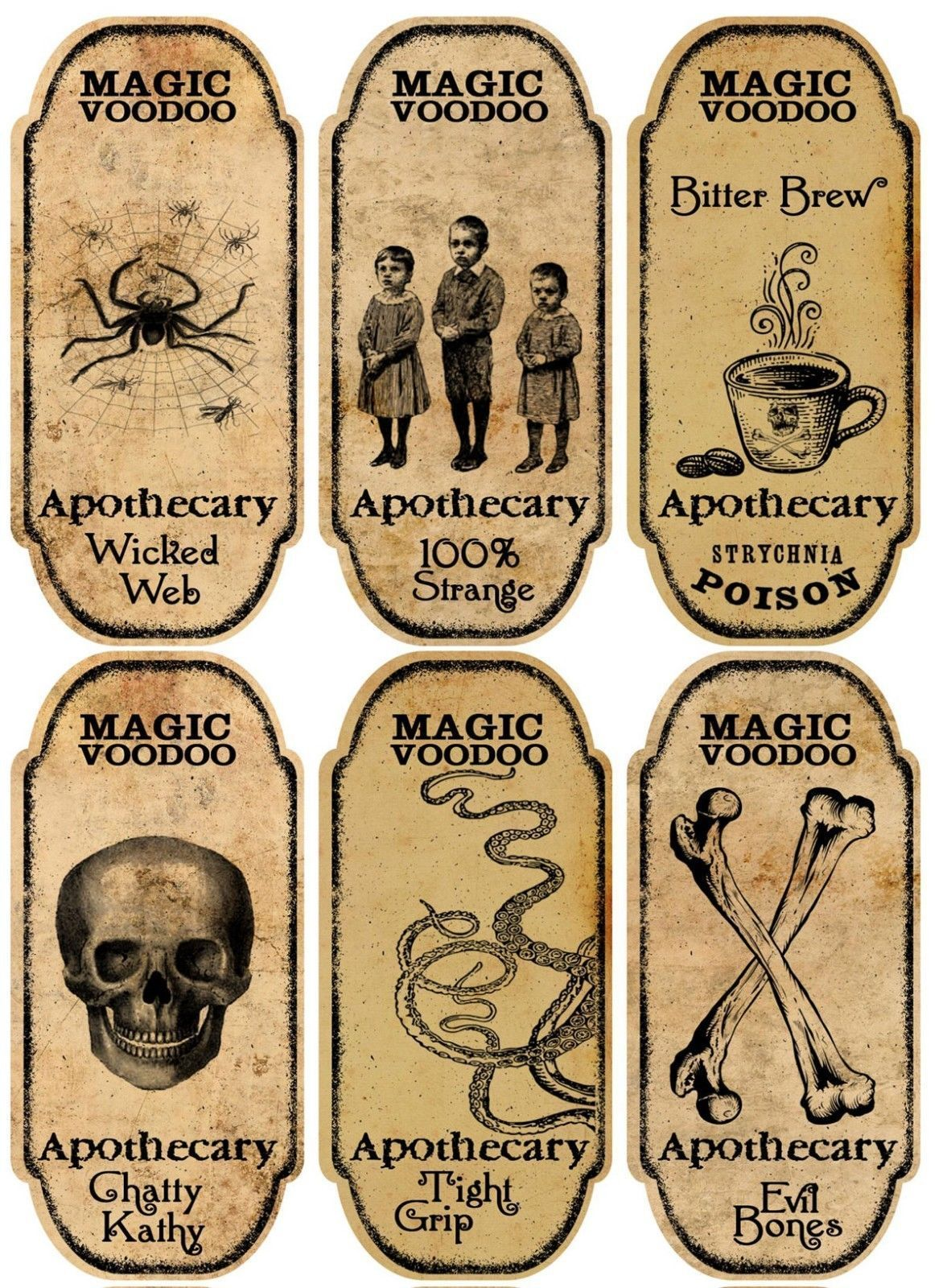 Halloween 6 large magic voodoo apothecary bottle labels stickers ...