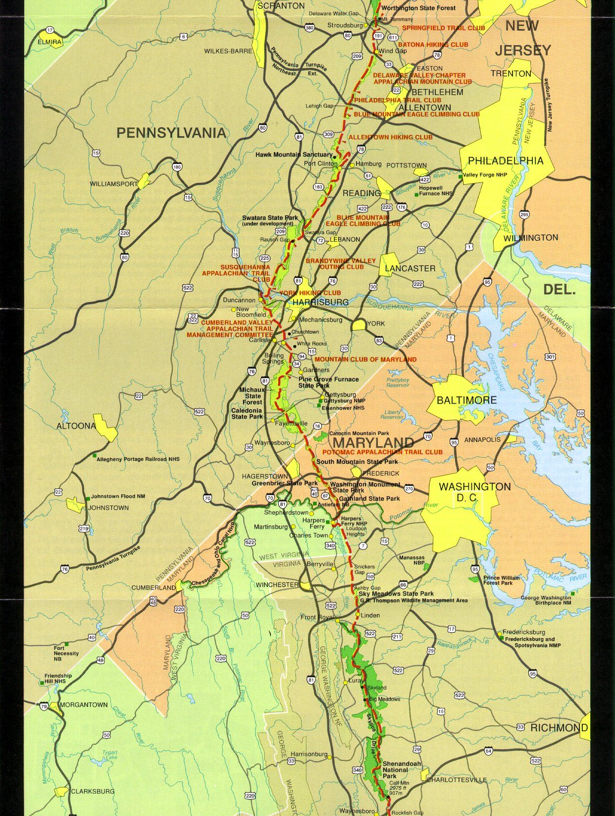 map - PA, MD, VA section of the AT | Appalachian trail map ...