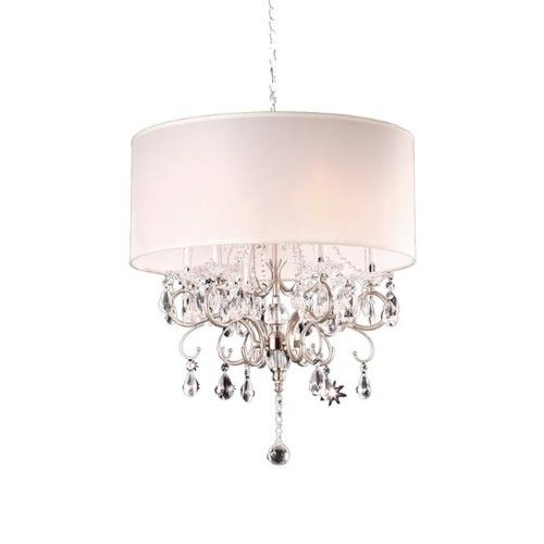 21 in  Crystal Silver Chandelier, As Shown is part of Silver Home Accents Guest Rooms - Features Features a simply elegant chandelier  Includes a ivory cylindrical shade  Has hanging 100% imported crystals to add a dramatic effect  Body is made o Color As Shown