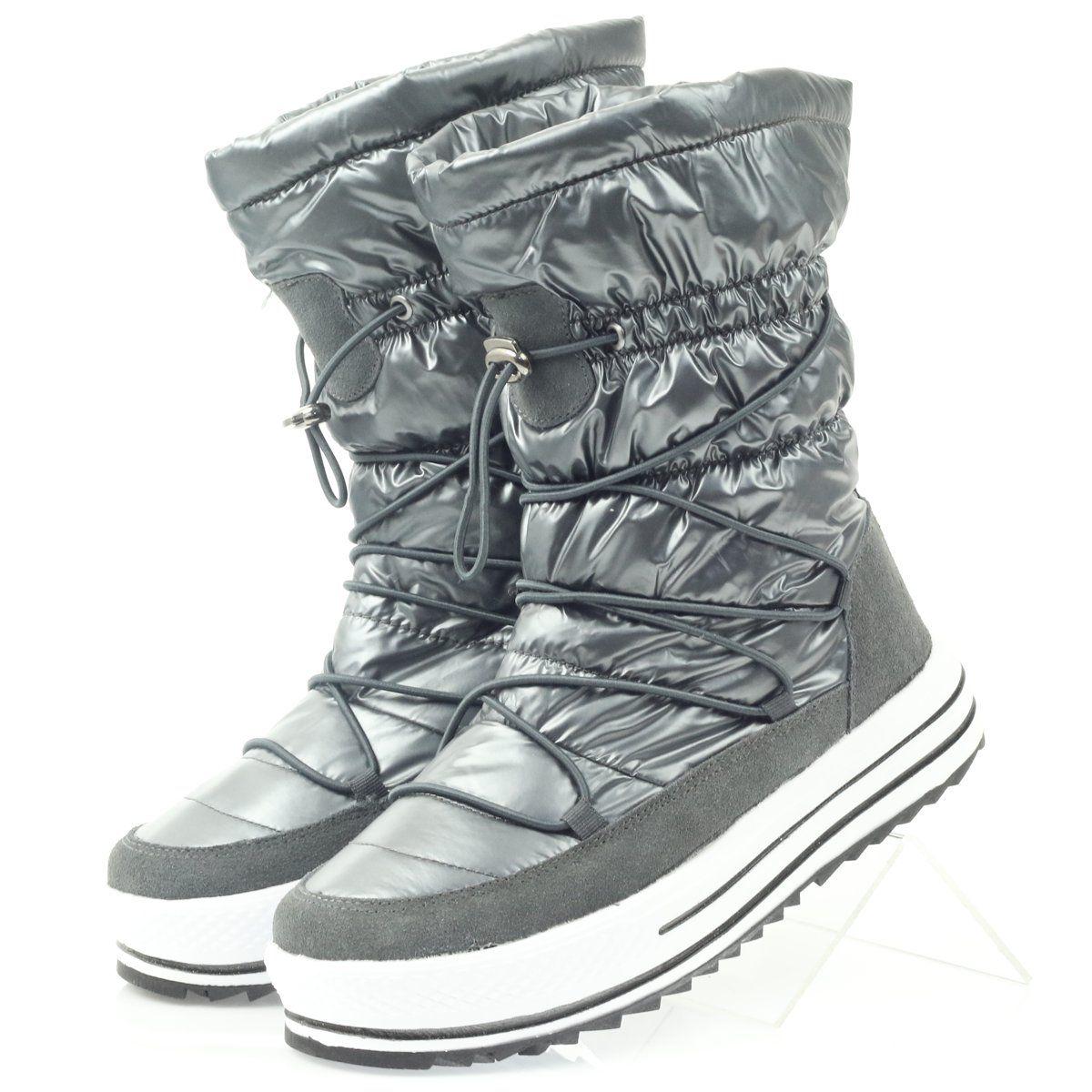 Sniegowce Sportowe Na Futerku Dk Szare Boots Army Boot Combat Boots