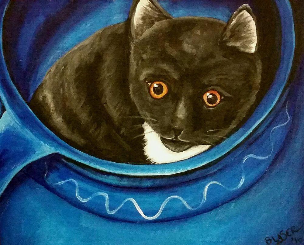 MARCH MADNESS SALE Original Tuxedo Cat Art Acrylic Painting 8x10