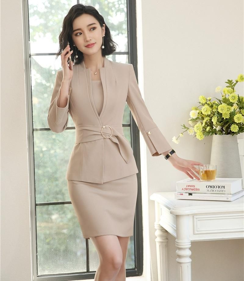 83138ab6769e New Style 2018 Fashion Grey Blazer Women Business suits Dress and and Jacket  Sets Ladies Office Uniform Designs