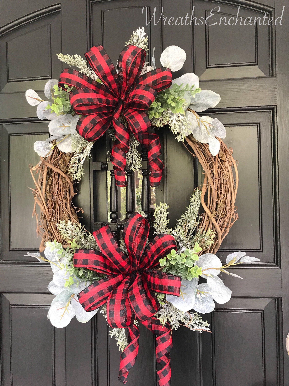 Christmas Wreath Farmhouse Wreath Holiday Wreath Buffalo