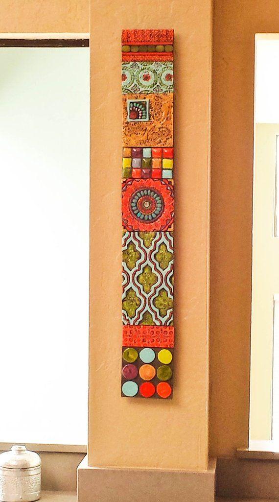 Mosaic Wall Art Vertical Art Wall Art Ceramic Wall Art Stick Mini Pattern & Texture Clay Tile Mounted Wall Art Pottery Boho Decor Narrow Art