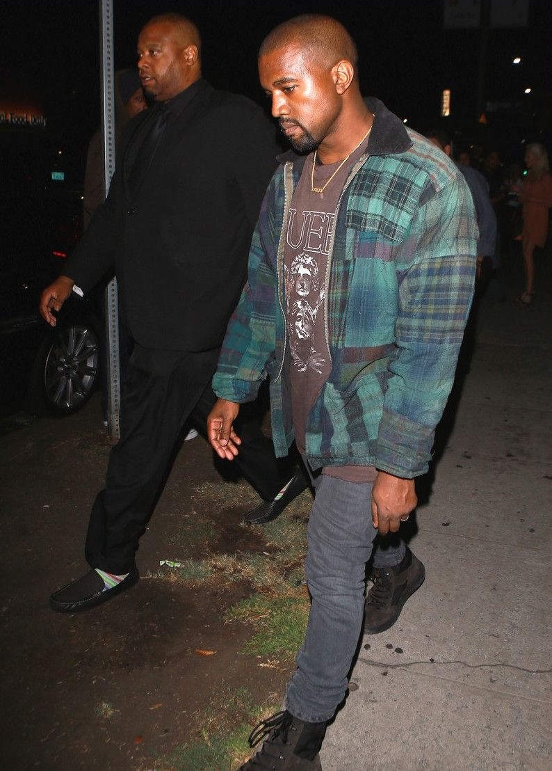 Kanye West Leaves The Nice Guy Wearing A Vintage T Shirt Acne Jeans And Yeezy Season 3 Boots Yeezy Season 3 Boots Kanye West Kanye West Style