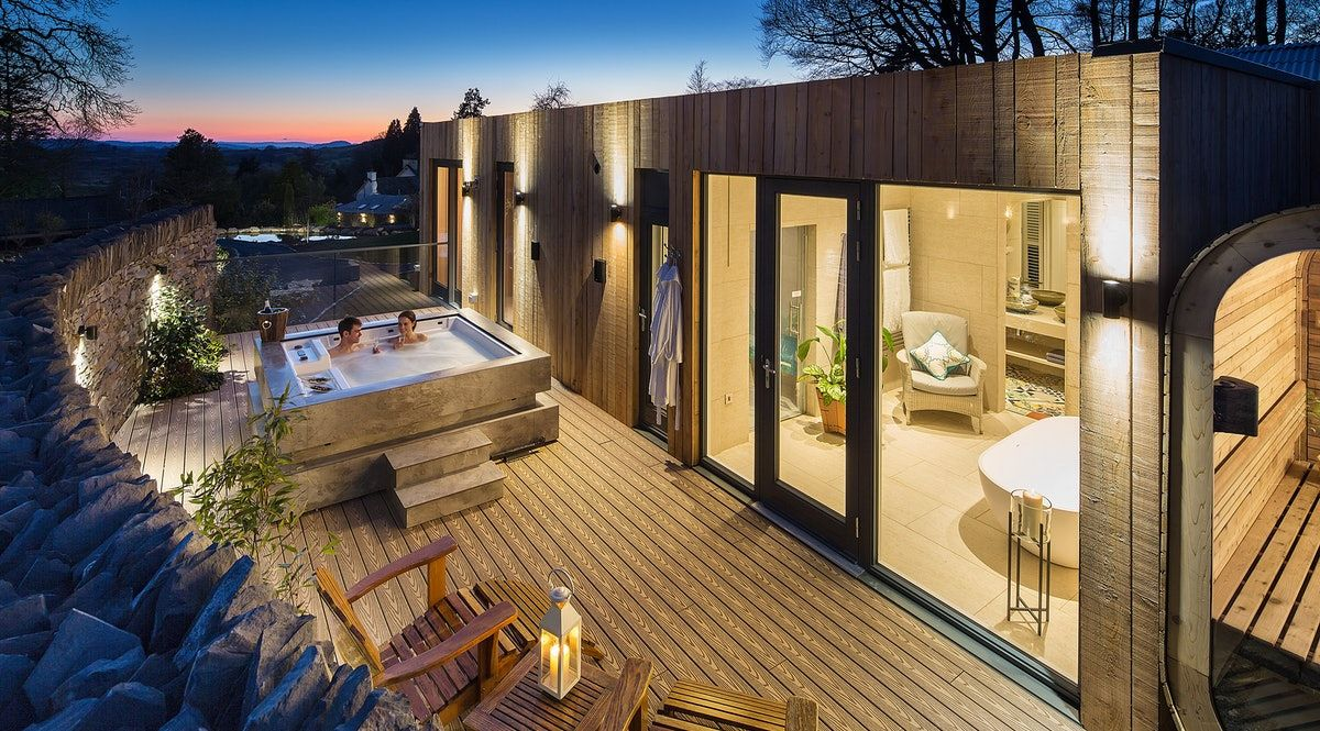 Gilpin Spa Lodges Indulge In Luxury Pampering In The Lake District Lake District Hotels Hot Tub Outdoor Jacuzzi Outdoor