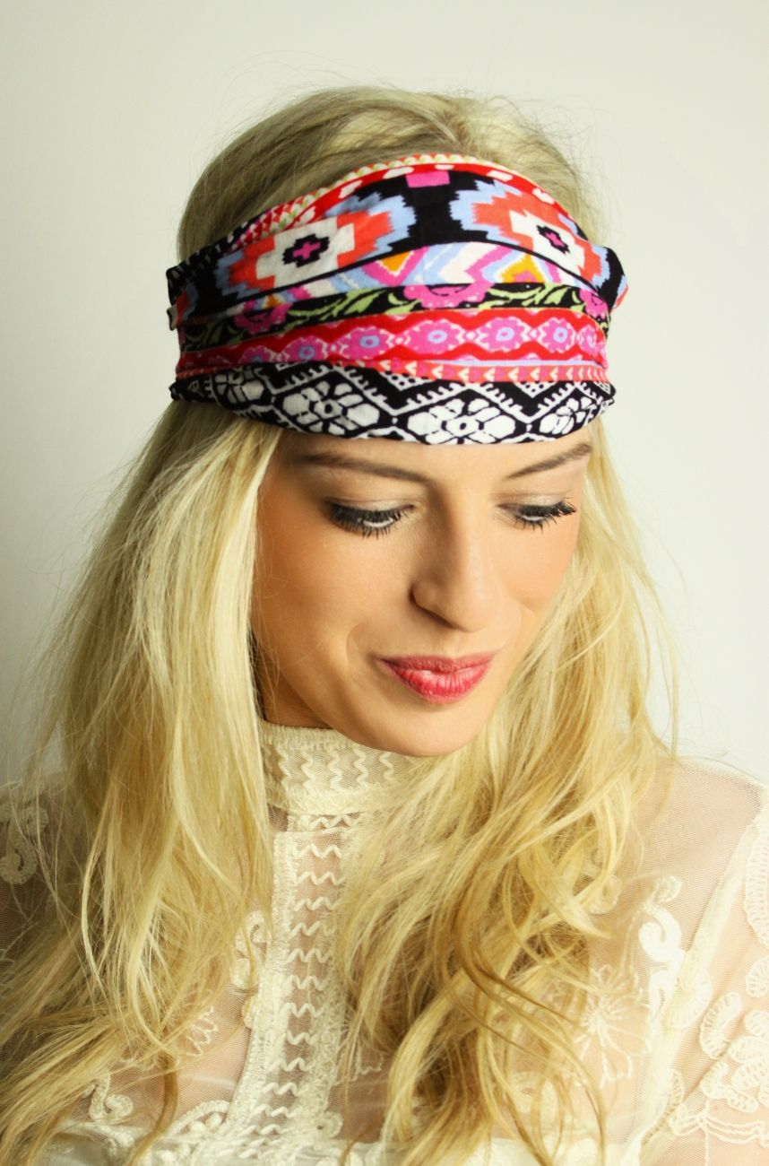haarband mit aztekenmuster the beach wrap haarband headband bandana hippie boho ethno. Black Bedroom Furniture Sets. Home Design Ideas